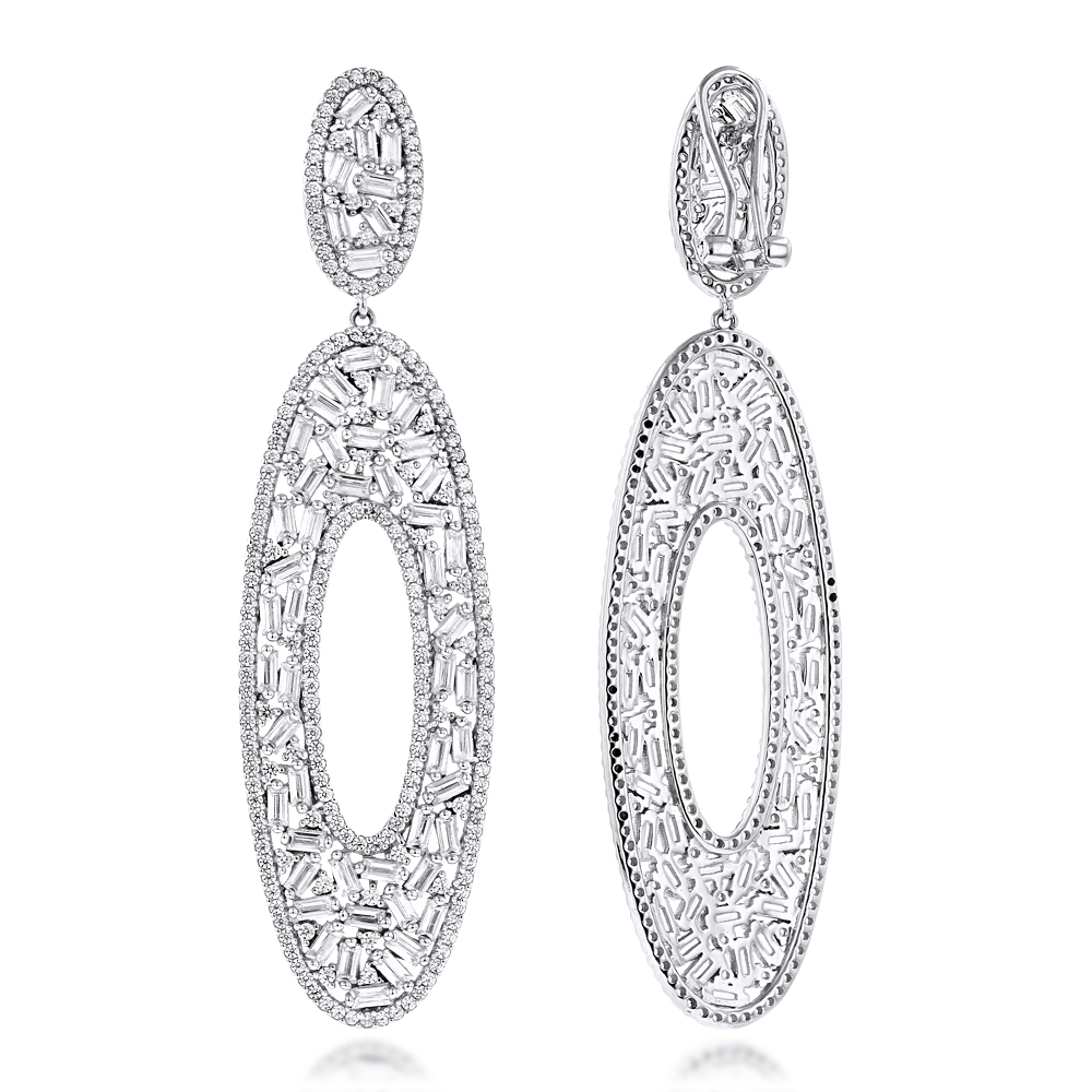 LUXURMAN Oval Designer Diamond Drop Earrings in 14K Gold 7ct