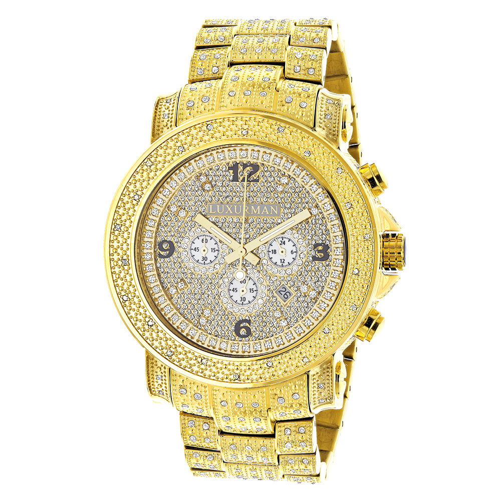 Luxurman Oversized Iced Out Mens Diamond Watch Yellow Gold 2ct