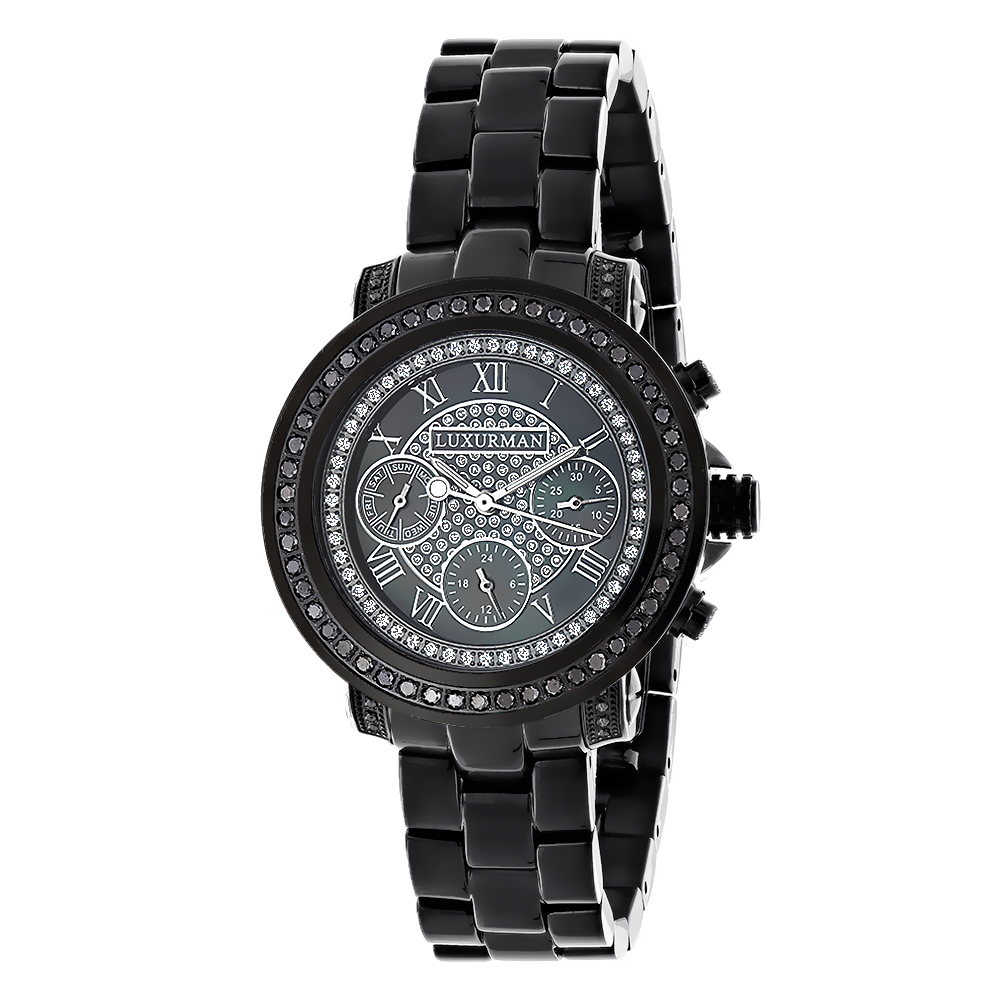 Luxurman Oversized Womens Black Diamond Watch 2.15ct Main Image