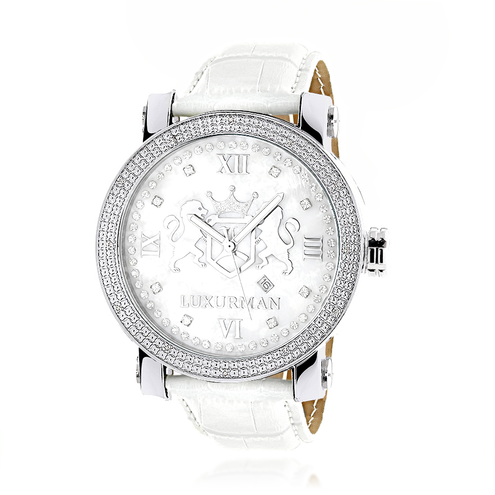 Luxurman Phantom Large Diamond Watch for Men Leather Band White MOP 0.12ct Main Image
