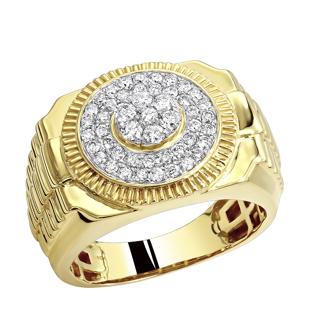 Mens Pinky Rings: 0.9ct 10k Gold Diamond Ring for Men Yellow Image
