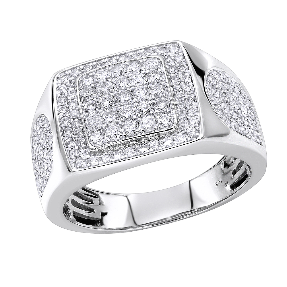 Luxurman Pinky & Wedding  Rings Affordable 10K Gold Mens Diamond Ring 1.5ct