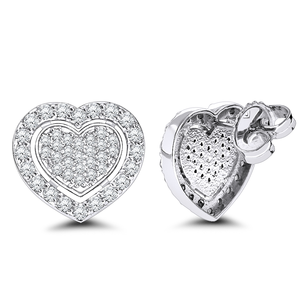 Luxurman Platinum Diamond Heart Earrings Studs 0.5ctw Main Image