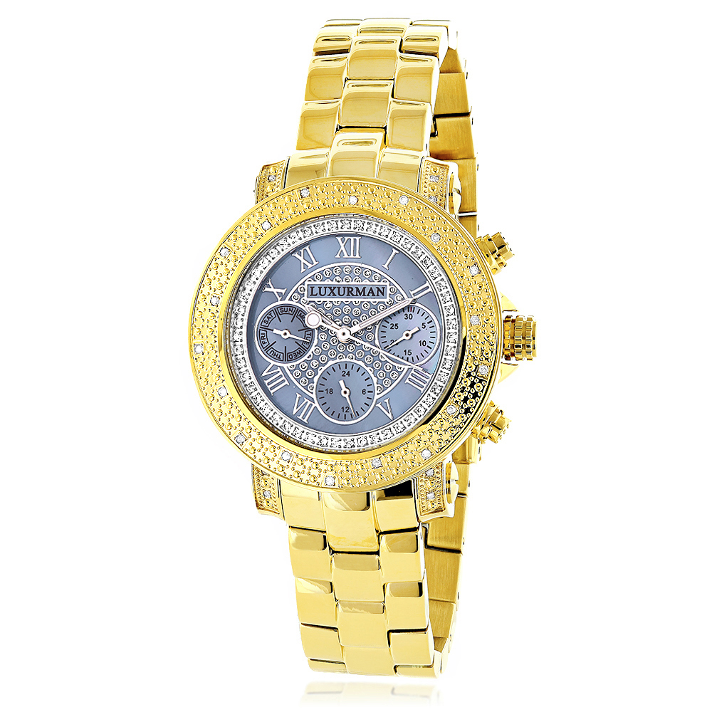 Luxurman Real Diamond Watch for Women 0.3ct Yellow Gold Plated Montana Main Image