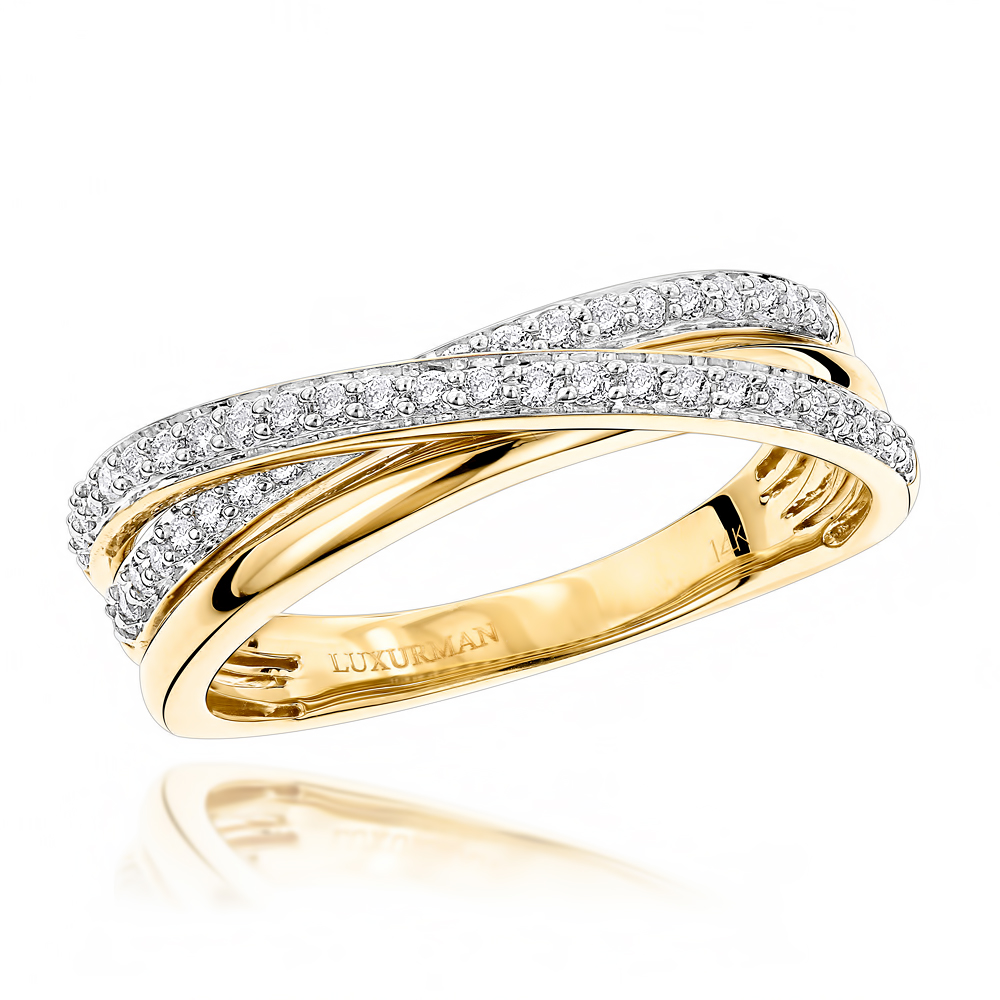 Luxurman Right Hand Rings: Ladies Diamond Criss Cross Ring 14K Gold 0.4ct