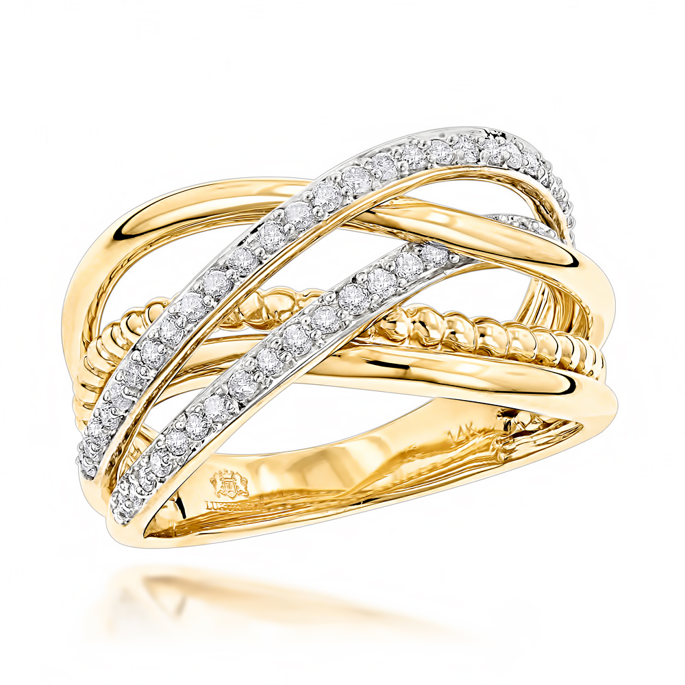 LUXURMAN Right Hand Rings: Unique Womens Diamond Ring 14K Gold 0.45ct Yellow Image