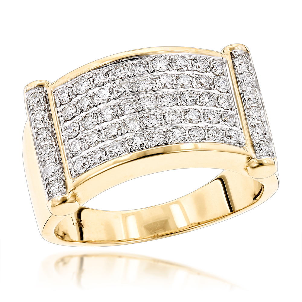 Luxurman Rings for Men: Unique 14k Gold Mens Diamond Band 1.25ct