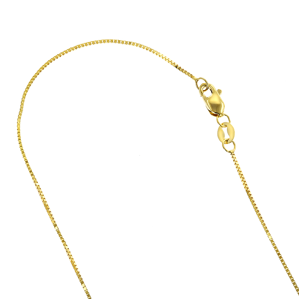 LUXURMAN Solid 10k Gold Box Chain For Men & Women 1.4mm Wide Yellow Image