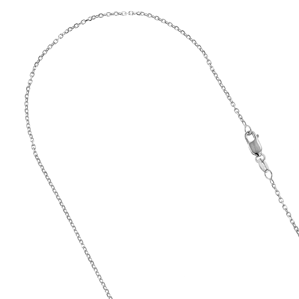 LUXURMAN Solid 10k Gold Cable Chain For Men & Women 1.1mm Wide White Image