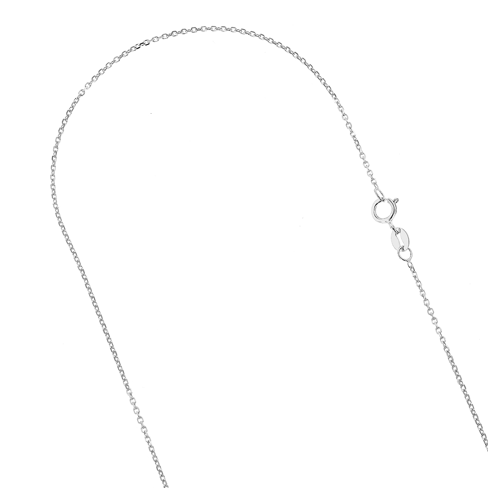 LUXURMAN Solid 10k Gold Cable Chain For Women 0.5mm Wide White Image