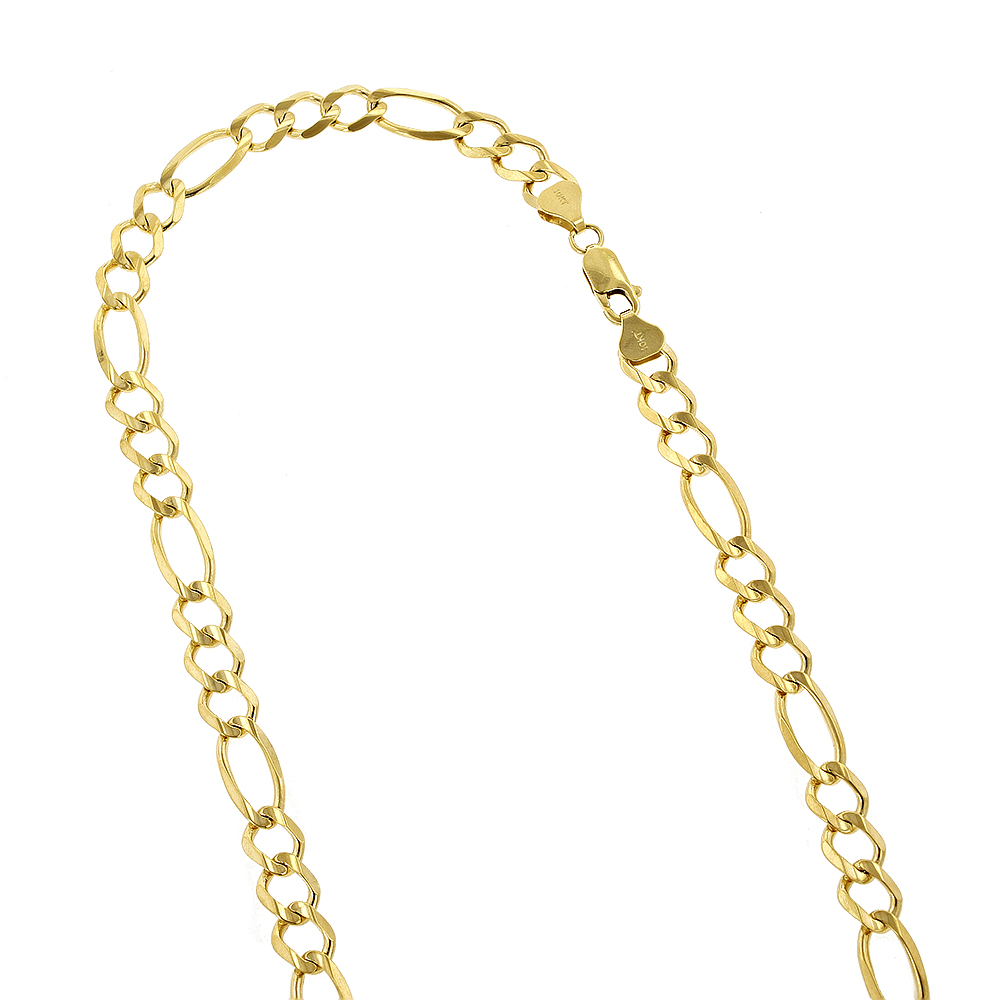 LUXURMAN Solid 10k Gold Figaro Chain For Men 8.5mm Wide Yellow Image