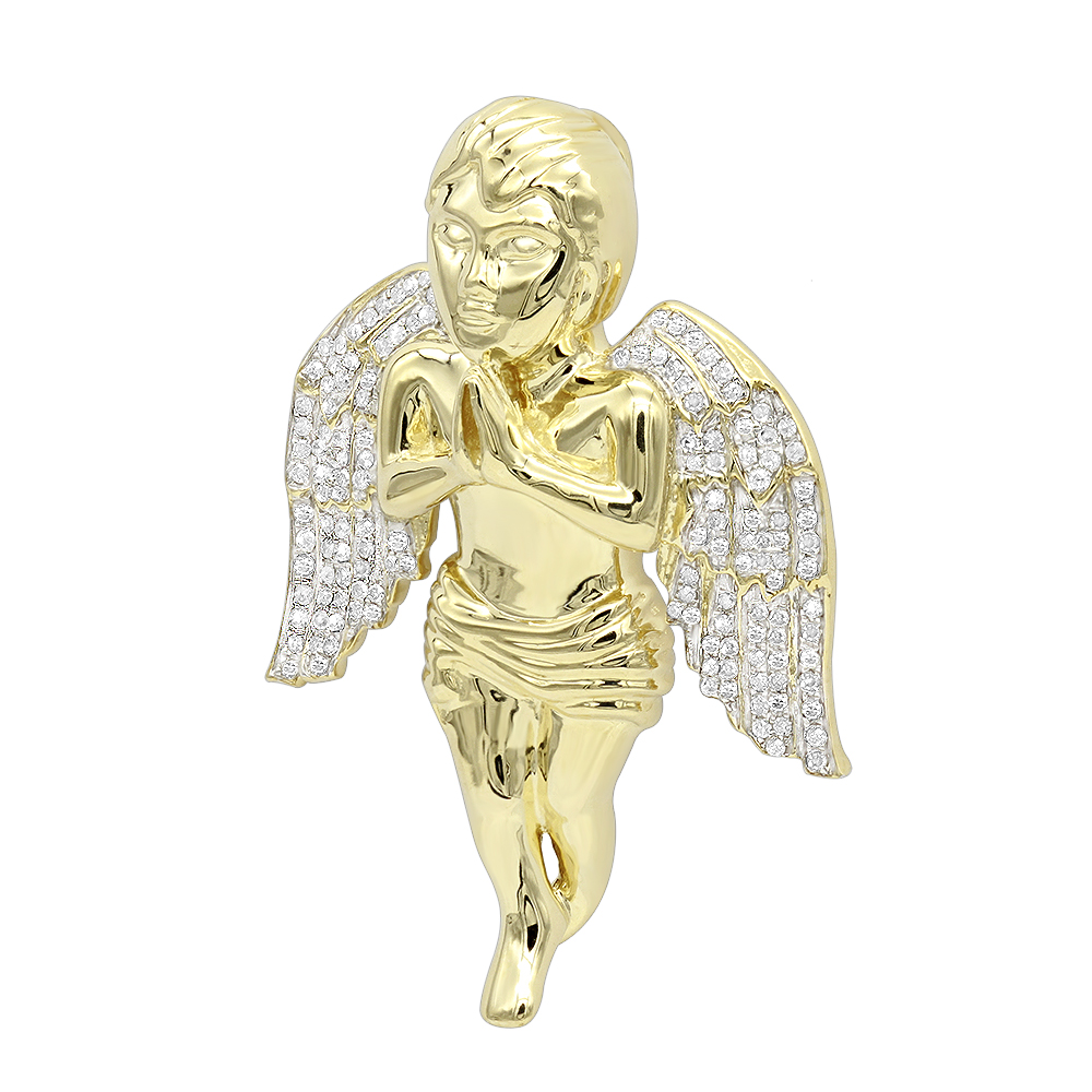 Luxurman Solid 10k Gold Real Diamond Praying Baby Angel Pendant for Men 0.9 Yellow Image