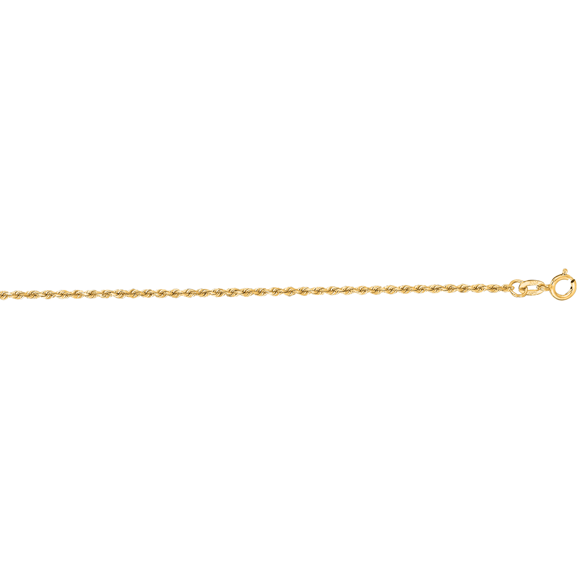 LUXURMAN Solid 10k Gold Rope Chain For Men & Women Diamond Cut 1.3mm Yellow Image