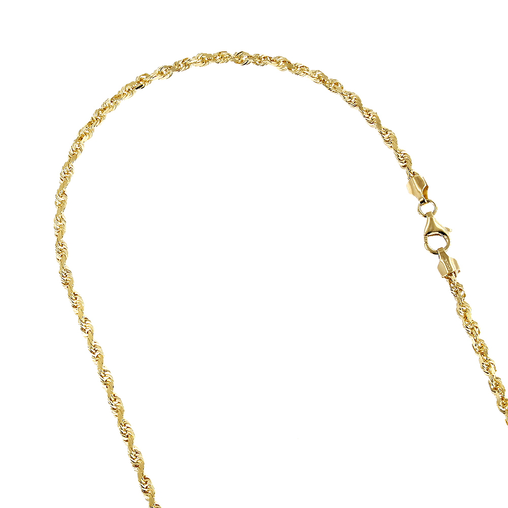 LUXURMAN Solid 10k Gold Rope Chain For Men & Women Diamond Cut 2mm 16-30in Yellow Image