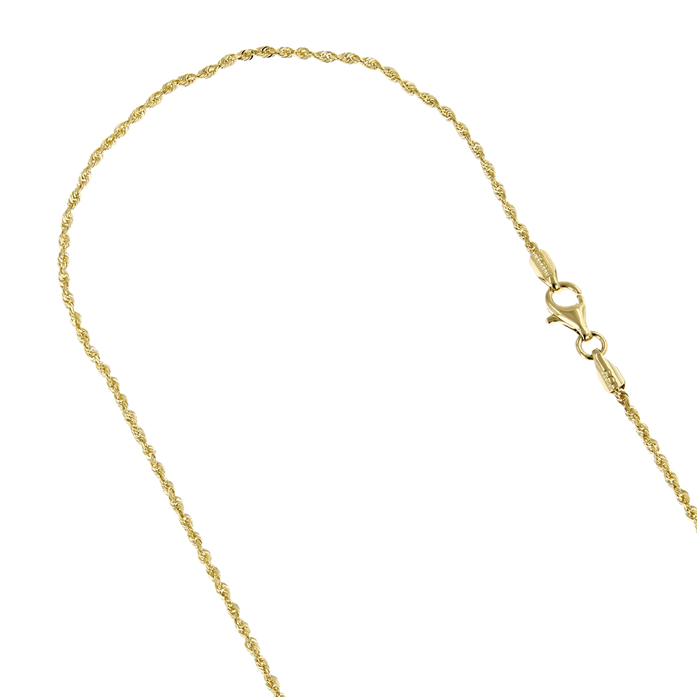 LUXURMAN Solid 10k Gold Rope Chain For Men & Women Diamond Cut 2mm Yellow Image