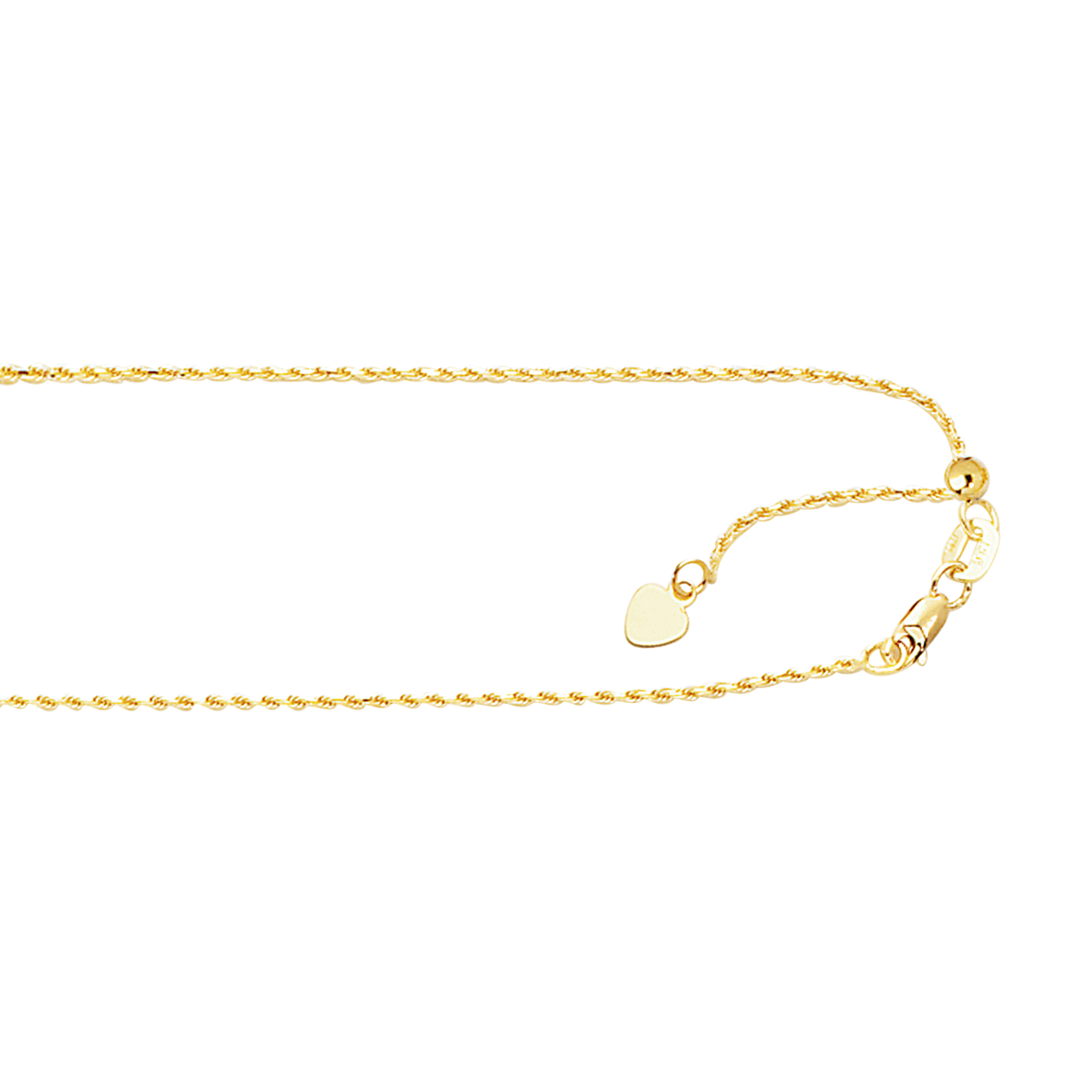 LUXURMAN Solid 10k Gold Rope Chain For Women Adjustable 1mm Wide Yellow Image