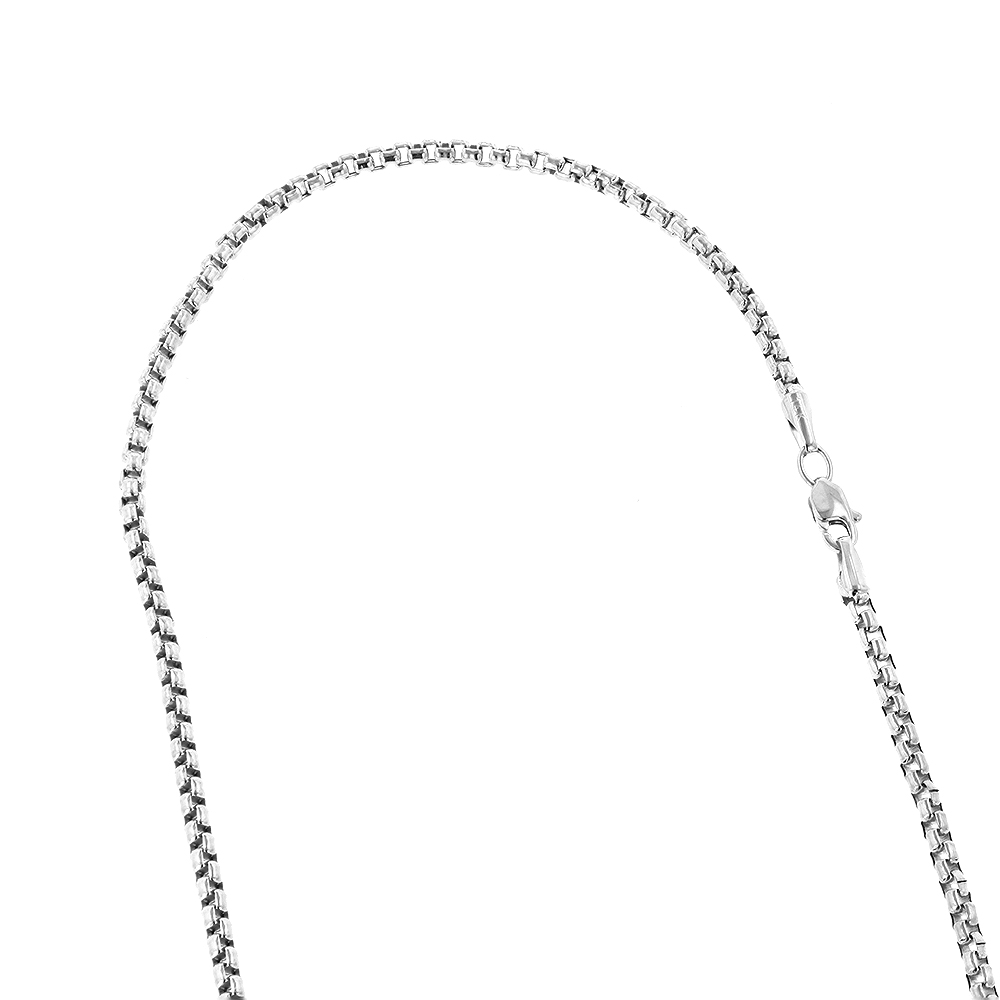LUXURMAN Solid 14k Gold Box Chain For Men & Women Round 1.7mm Wide White Image