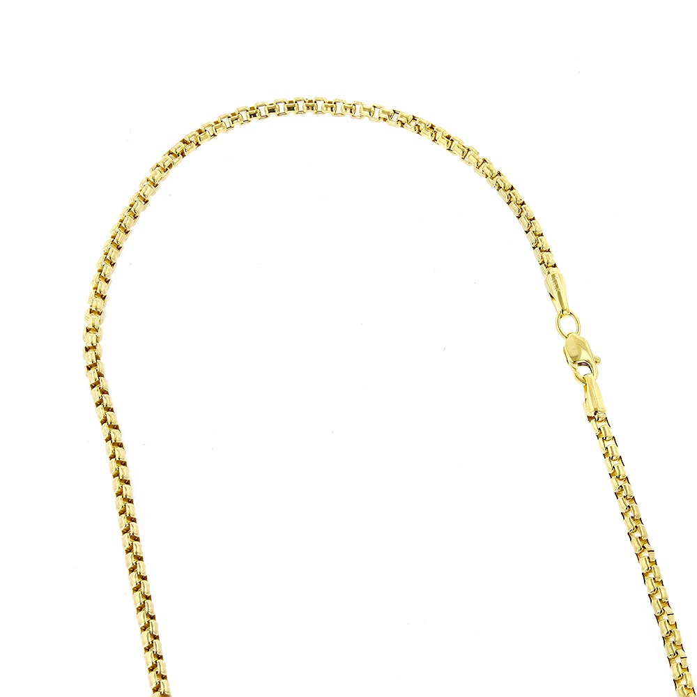 LUXURMAN Solid 14k Gold Box Chain For Men & Women Round 2.4mm Wide Yellow Image