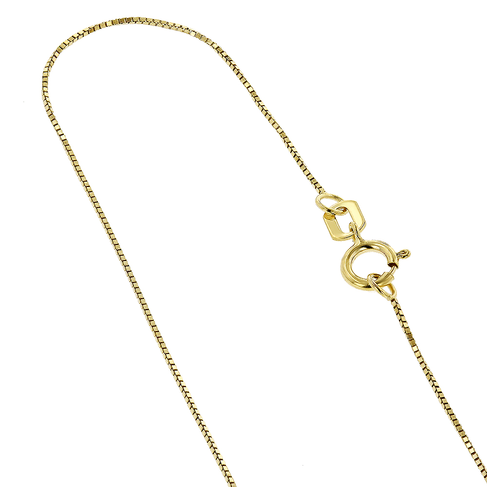 LUXURMAN Solid 14k Gold Box Chain For Women 0.5mm Wide Yellow Image