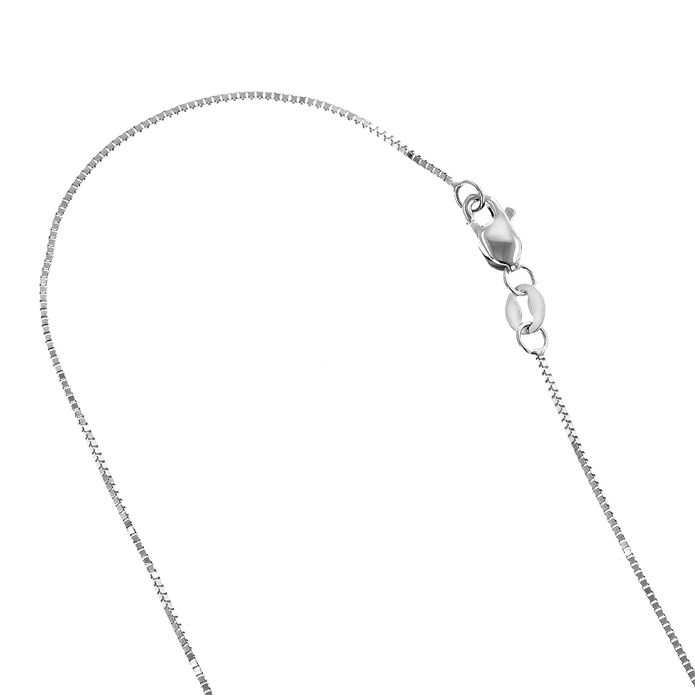 LUXURMAN Solid 14k Gold Box Chain For Women 0.6mm Wide White Image