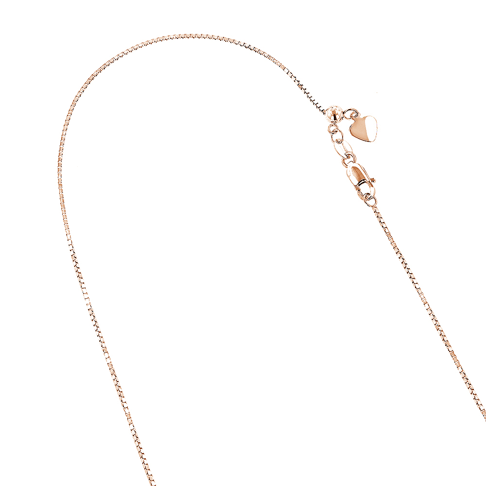 LUXURMAN Solid 14k Gold Box Chain For Women Adjustable 0.7mm Rose Image