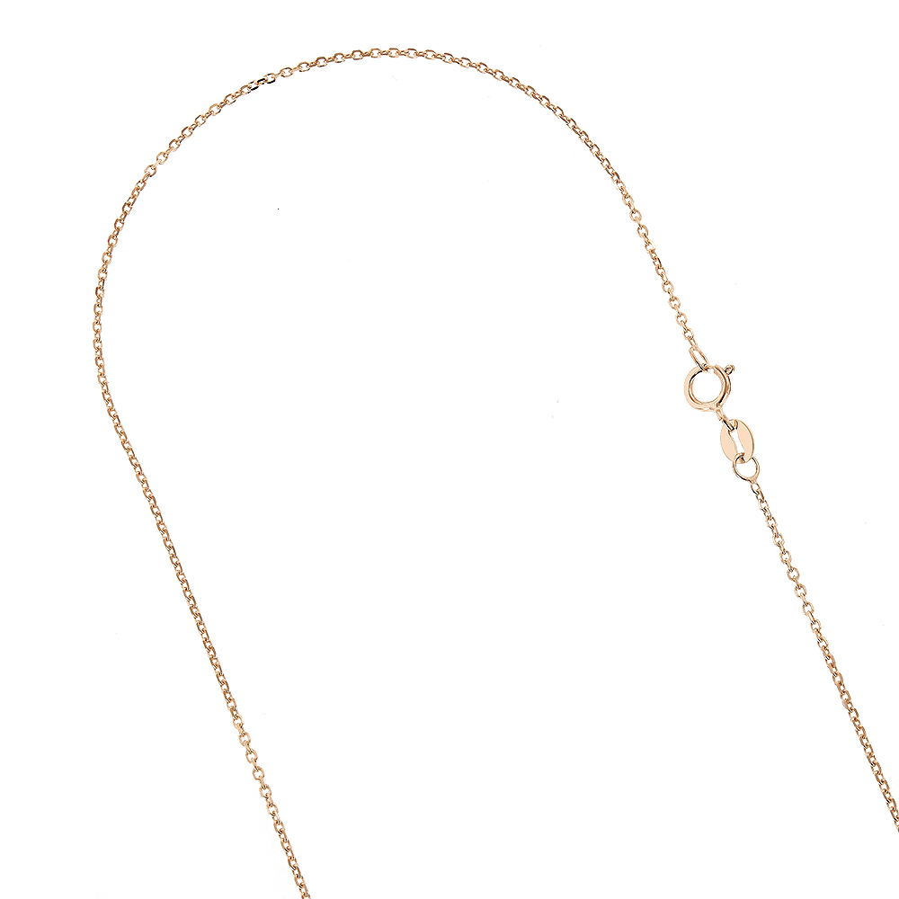 LUXURMAN Solid 14k Gold Cable Chain For Men & Women 1.1mm Wide Rose Image