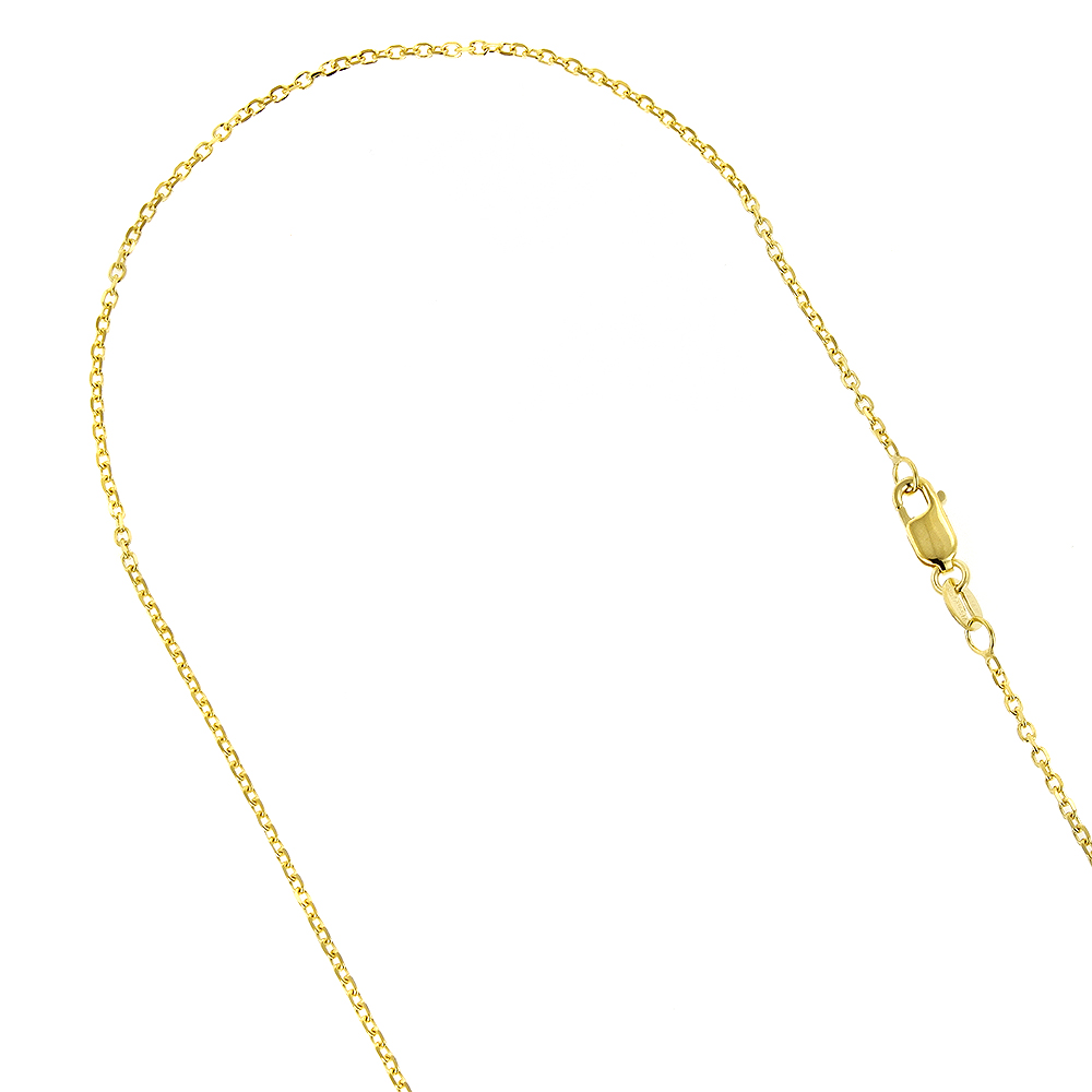 LUXURMAN Solid 14k Gold Cable Chain For Men & Women 1.4mm Wide Yellow Image