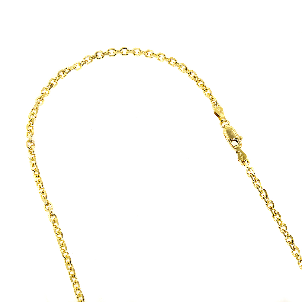 LUXURMAN Solid 14k Gold Cable Chain For Men & Women 2.3mm Wide Yellow Image