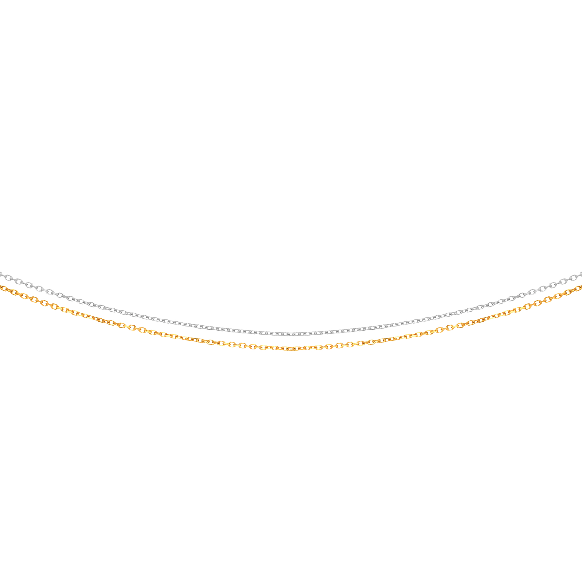 LUXURMAN Solid 14k Gold Cable Chain For Women 2 Strand 1.1mm Wide White Yellow Image
