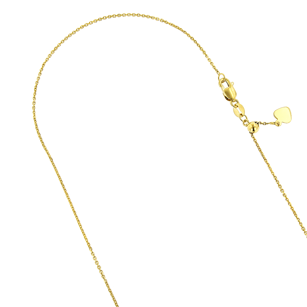 LUXURMAN Solid 14k Gold Cable Chain For Women Adjustable 0.9mm Yellow Image