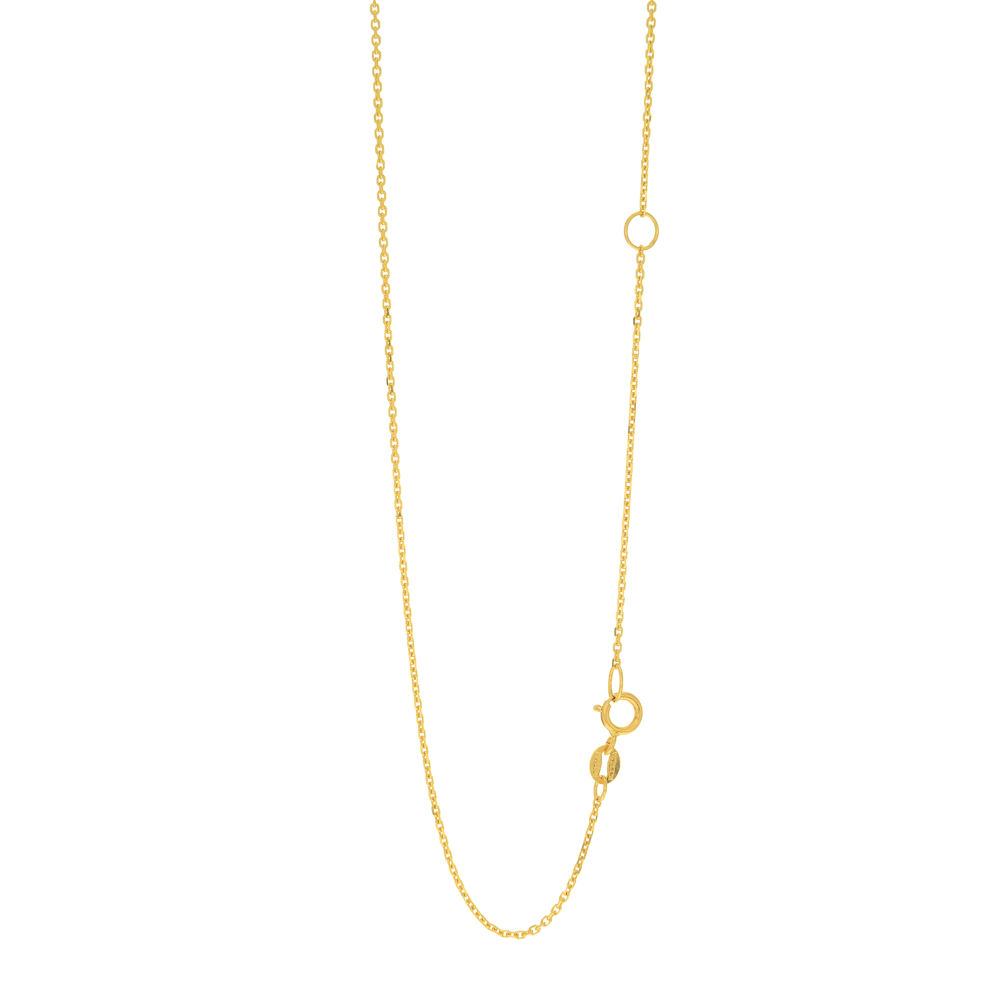 LUXURMAN Solid 14k Gold Cable Chain For Women Extendable 1.1mm Wide Yellow Image