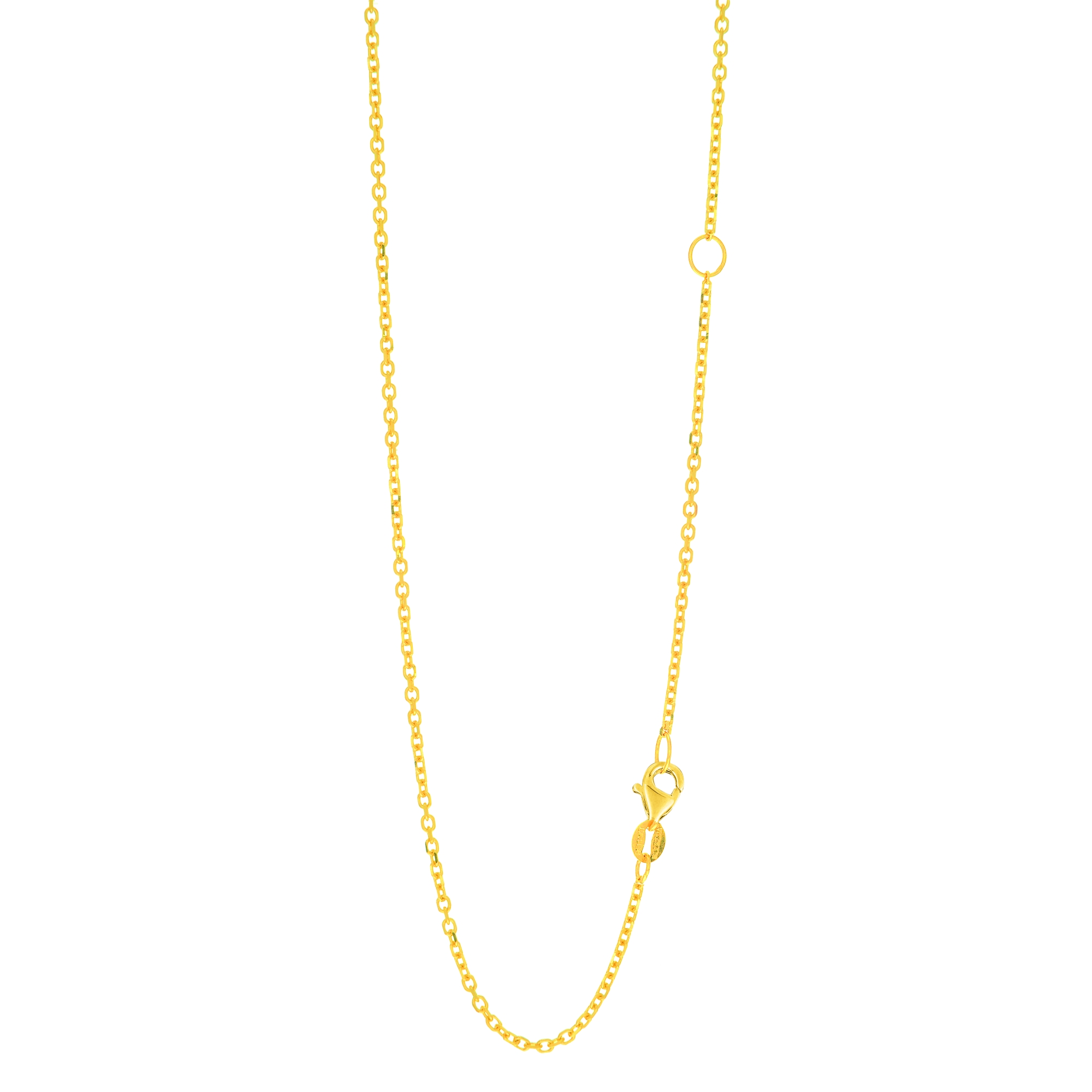 LUXURMAN Solid 14k Gold Cable Chain For Women Extendable 1.5mm Wide Yellow Image