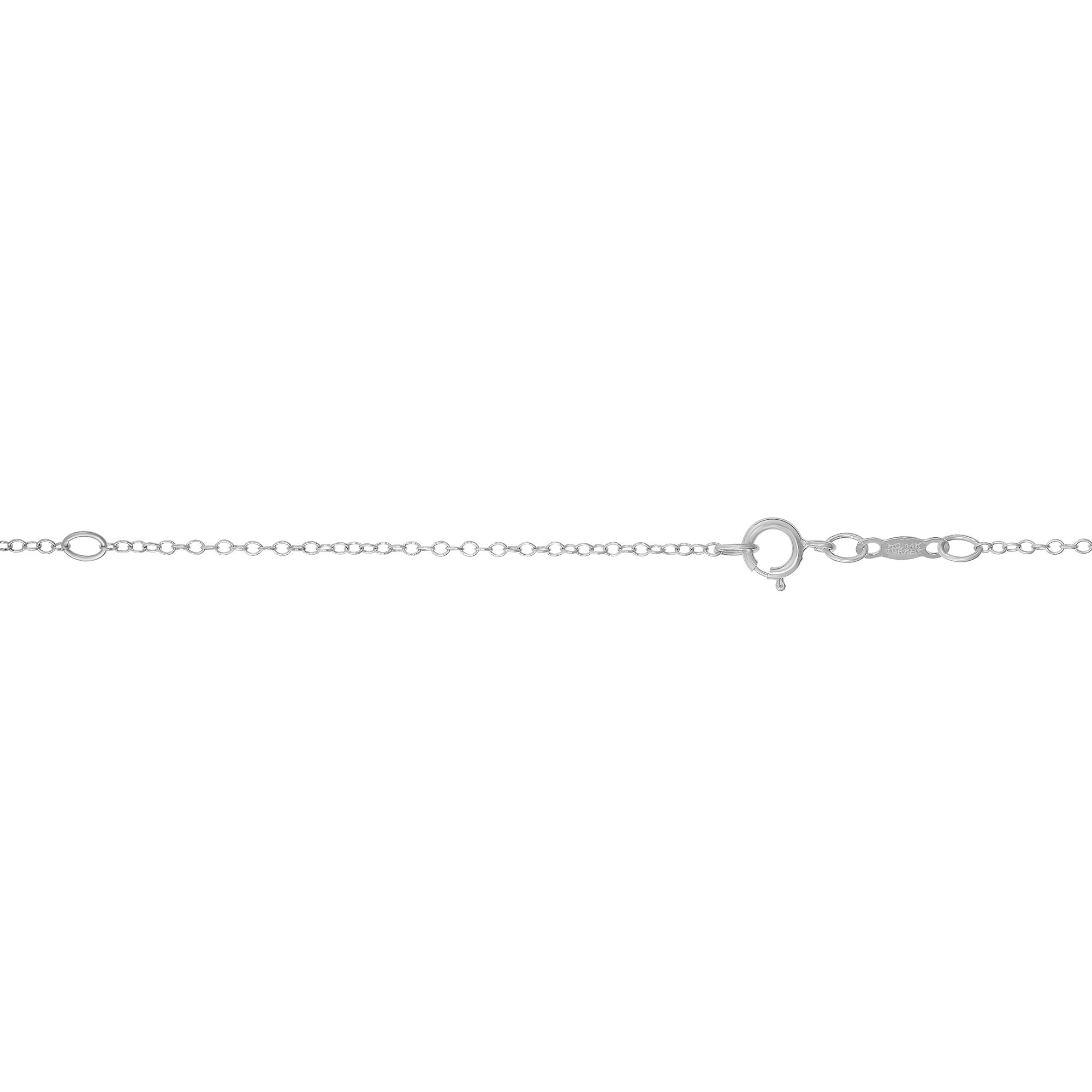 LUXURMAN Solid 14k Gold Cable Chain For Women Round Extendable 1.2mm White Image