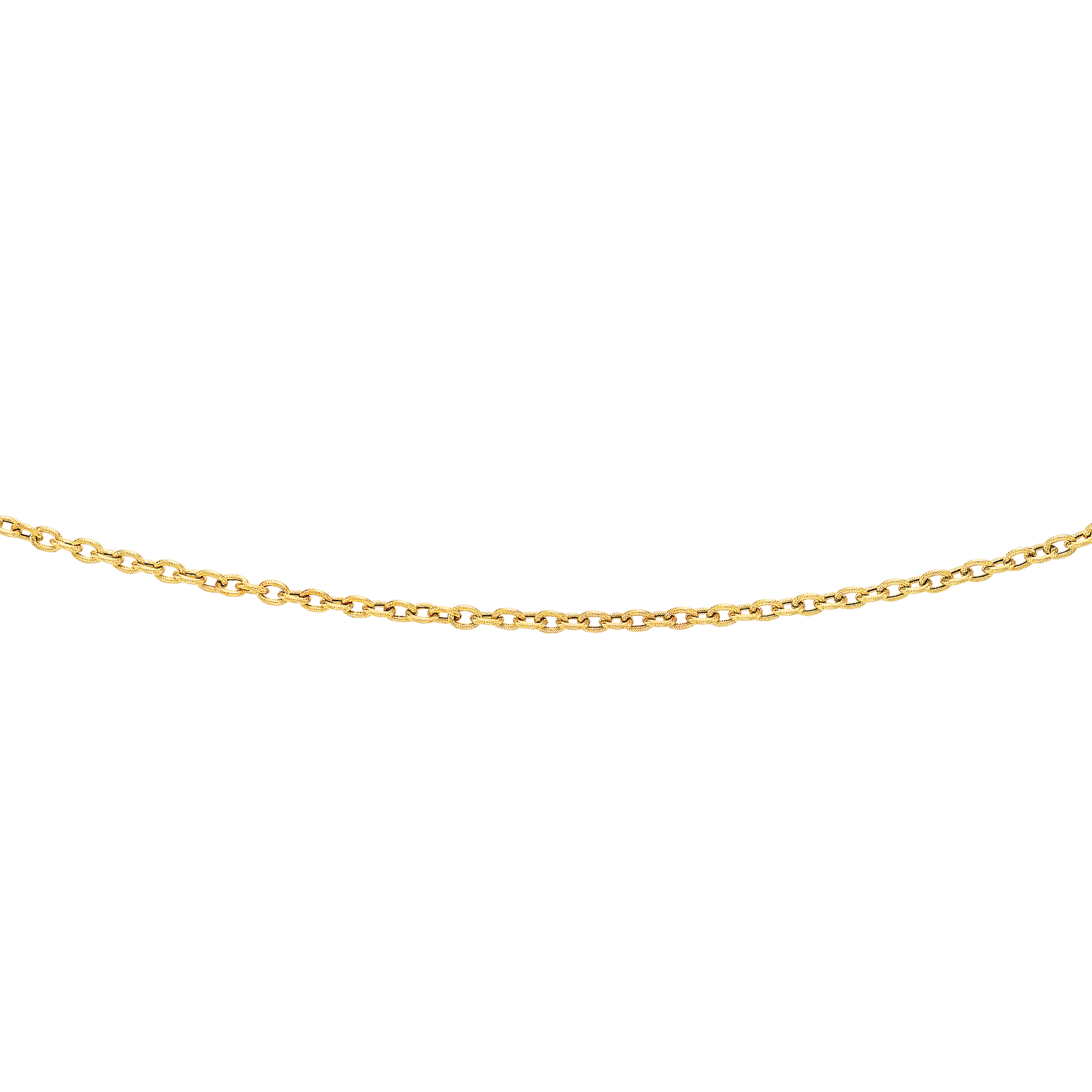 LUXURMAN Solid 14k Gold Cable Chain For Women Textured Link 3.5mm Wide Yellow Image