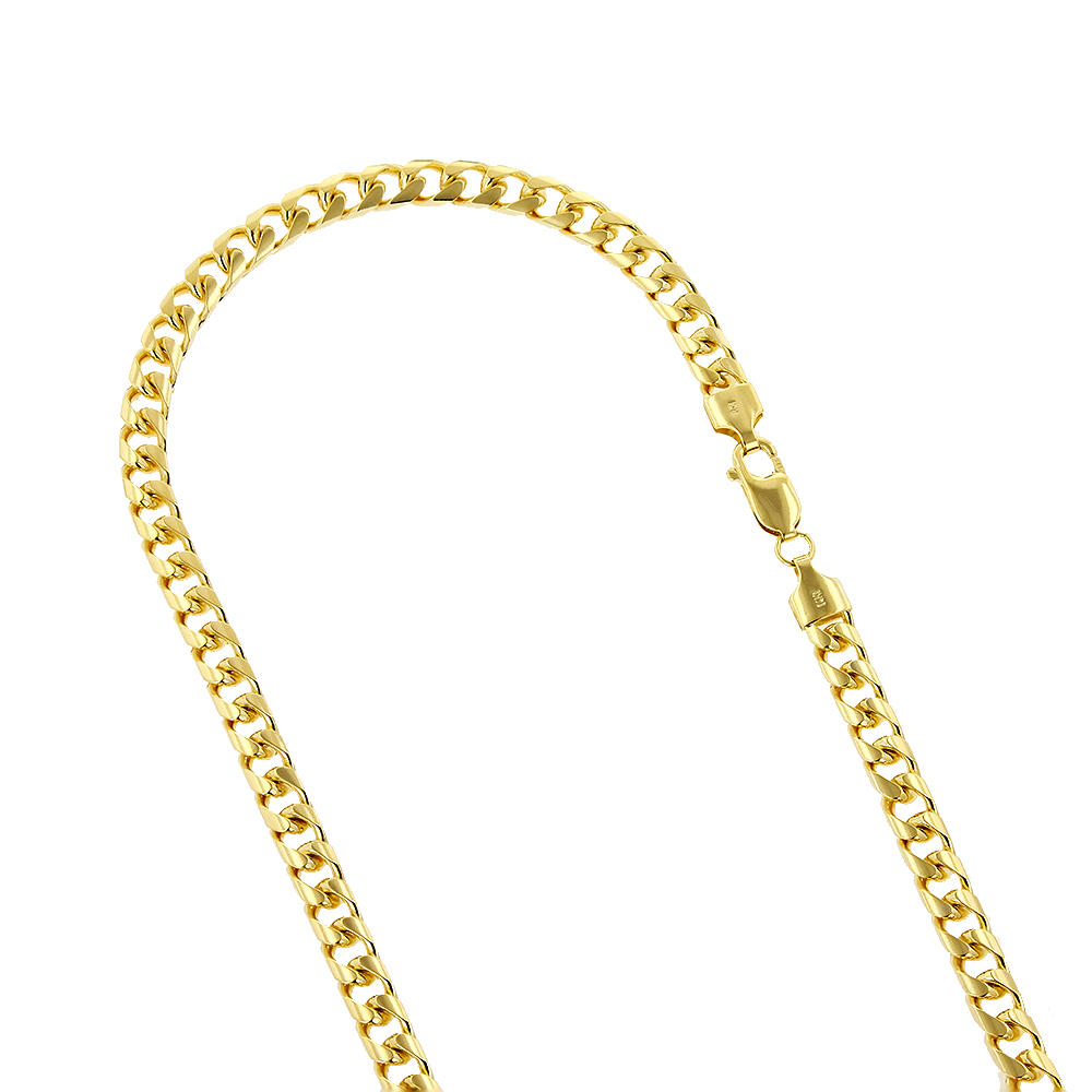 LUXURMAN Solid 14k Gold Cuban Link Chain For Men Miami 6mm Wide Yellow Image