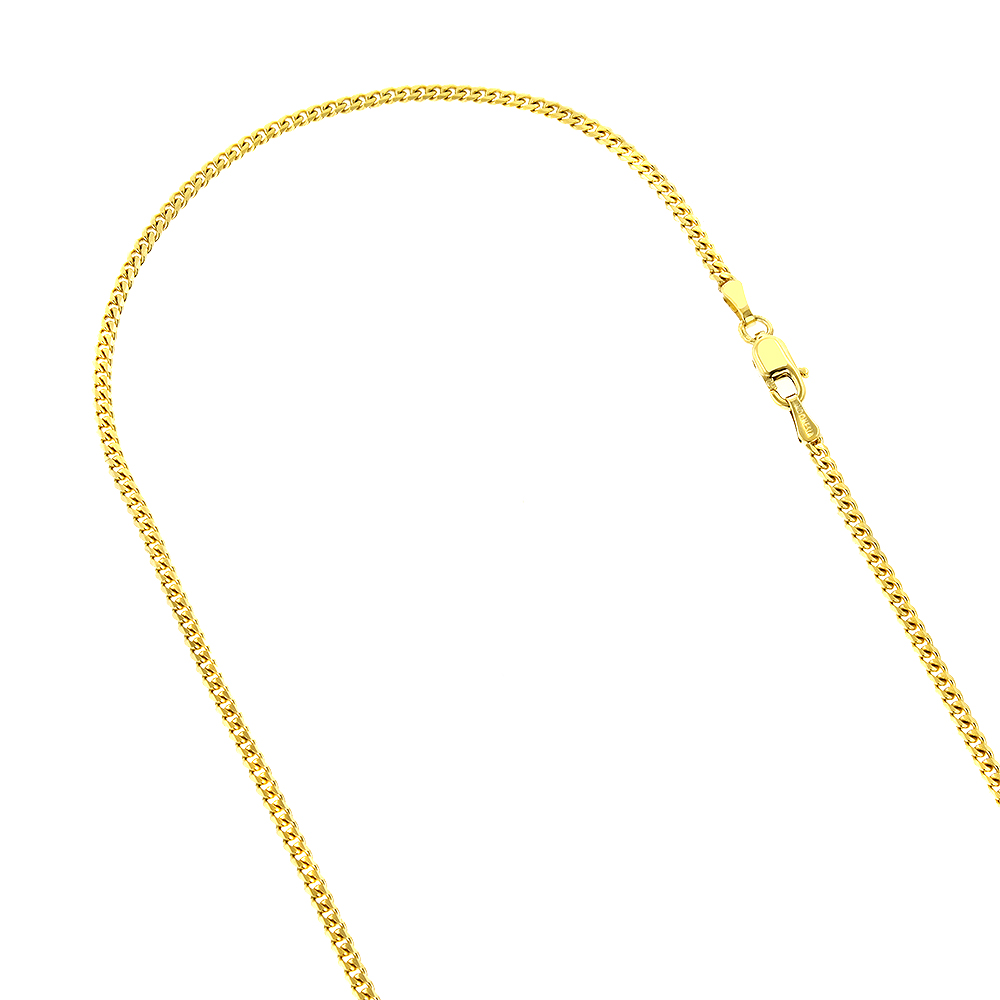 LUXURMAN Solid 14k Gold Curb Chain For Men & Women Gourmette 3mm Wide Yellow Image