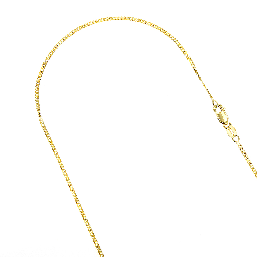 LUXURMAN Solid 14k Gold Curb Chain For Women Gourmette 0.9mm Wide Yellow Image