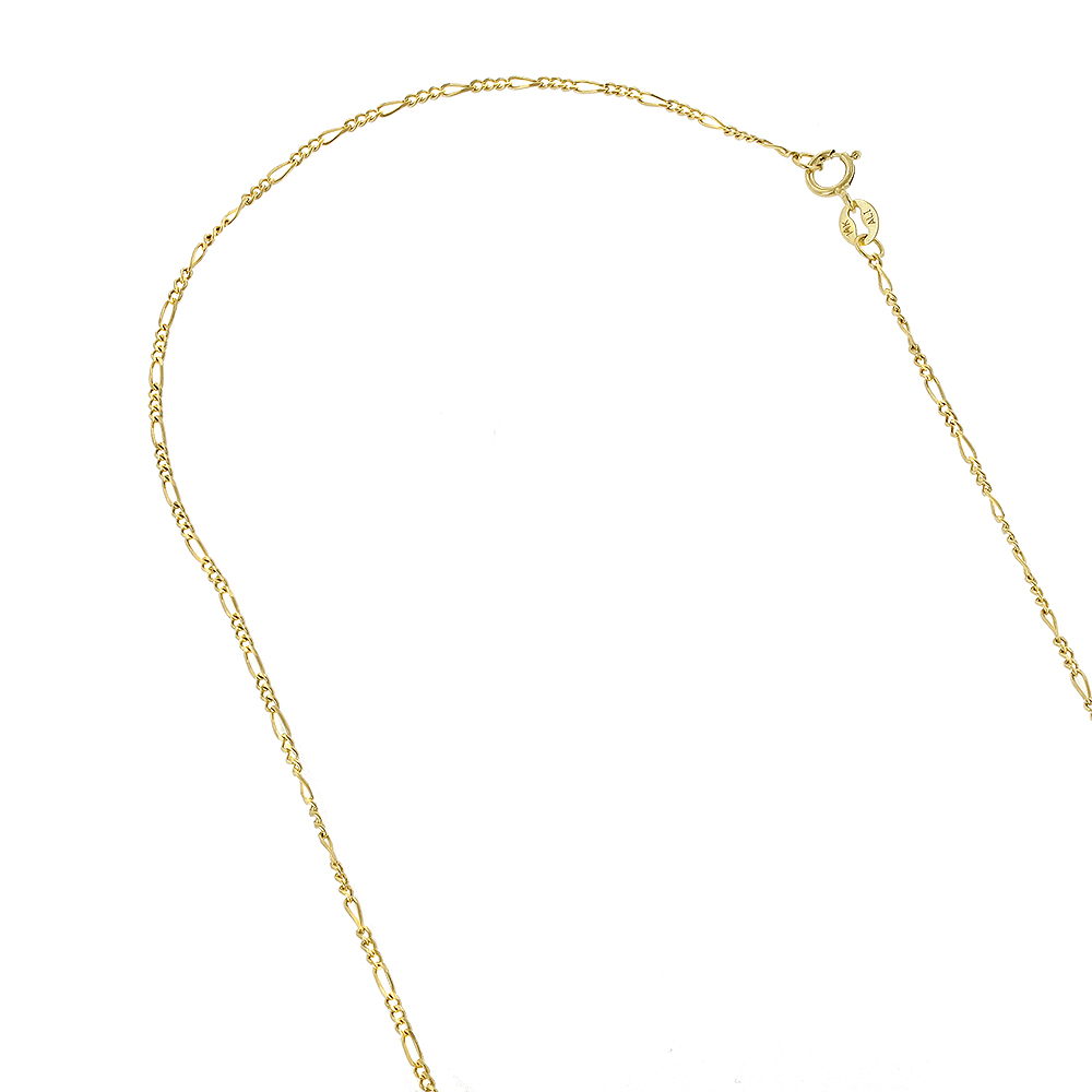 LUXURMAN Solid 14k Gold Figaro Chain For Men & Women 1.9mm Wide Yellow Image