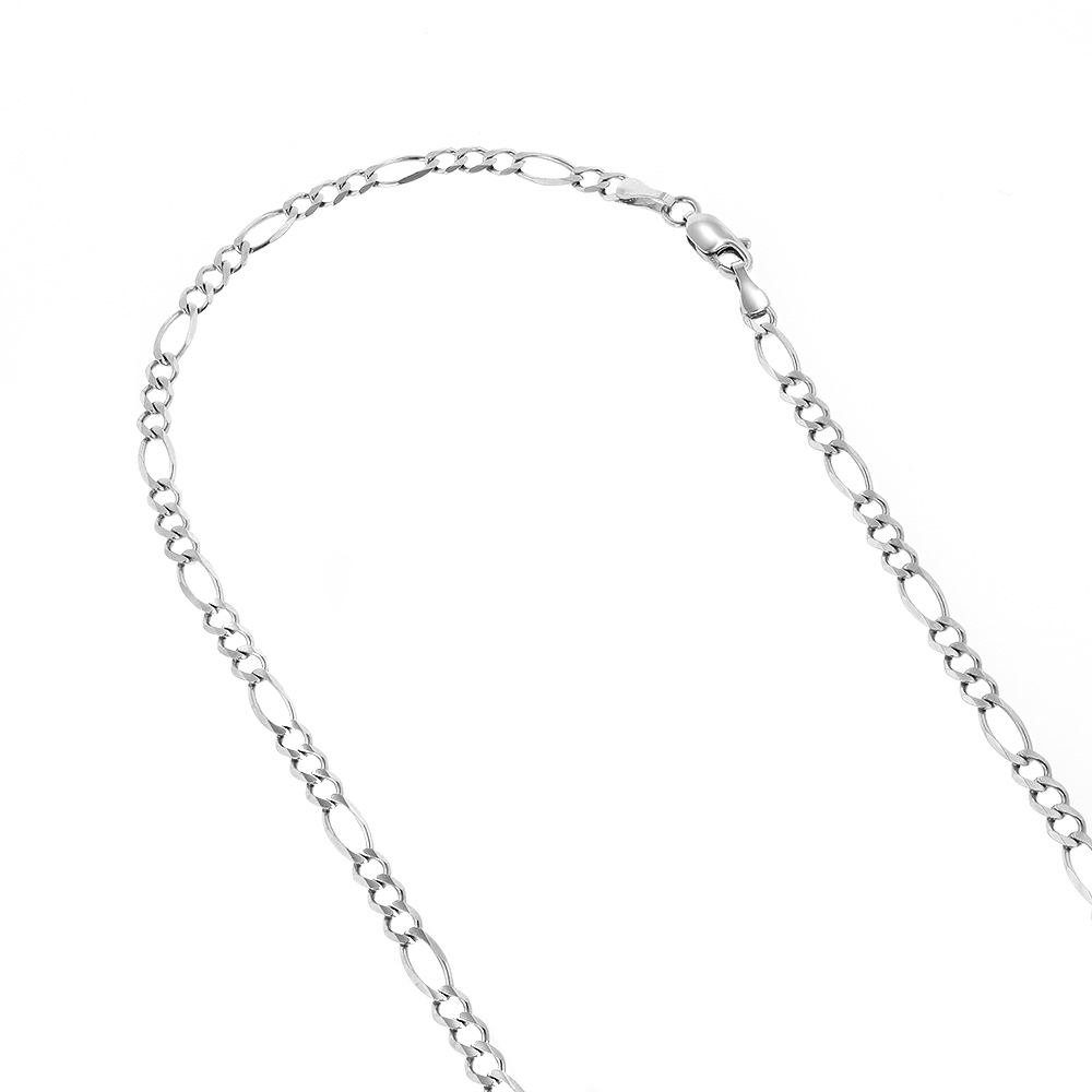 LUXURMAN Solid 14k Gold Figaro Chain For Men & Women 2.6mm Wide White Image
