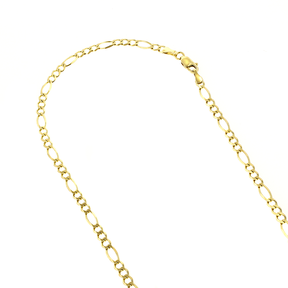 LUXURMAN Solid 14k Gold Figaro Chain For Men & Women 3mm Wide Yellow Image
