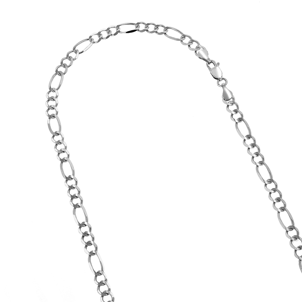 LUXURMAN Solid 14k Gold Figaro Chain For Men & Women 4.5mm Wide White Image