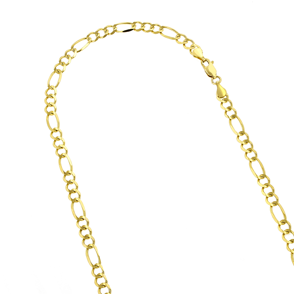 LUXURMAN Solid 14k Gold Figaro Chain For Men & Women 4mm Wide Yellow Image