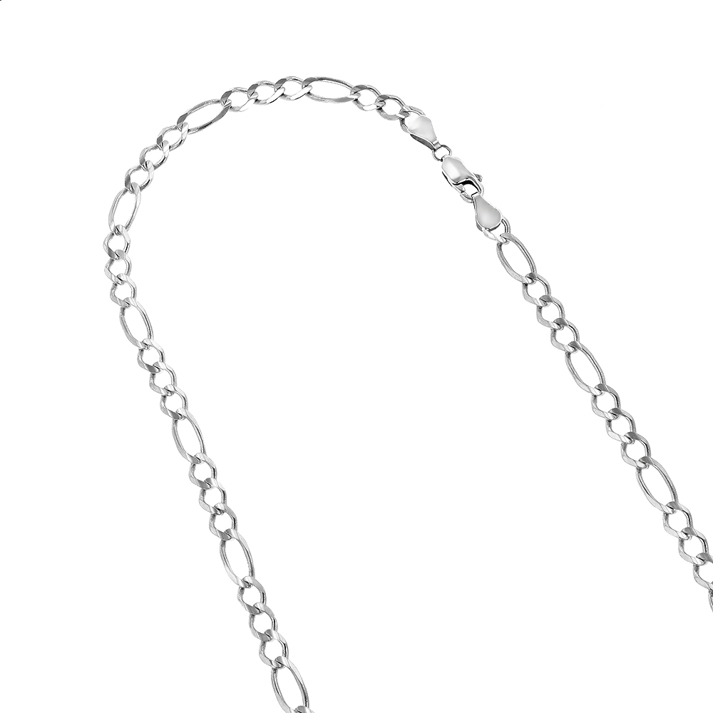 LUXURMAN Solid 14k Gold Figaro Chain For Men & Women 6mm Wide White Image