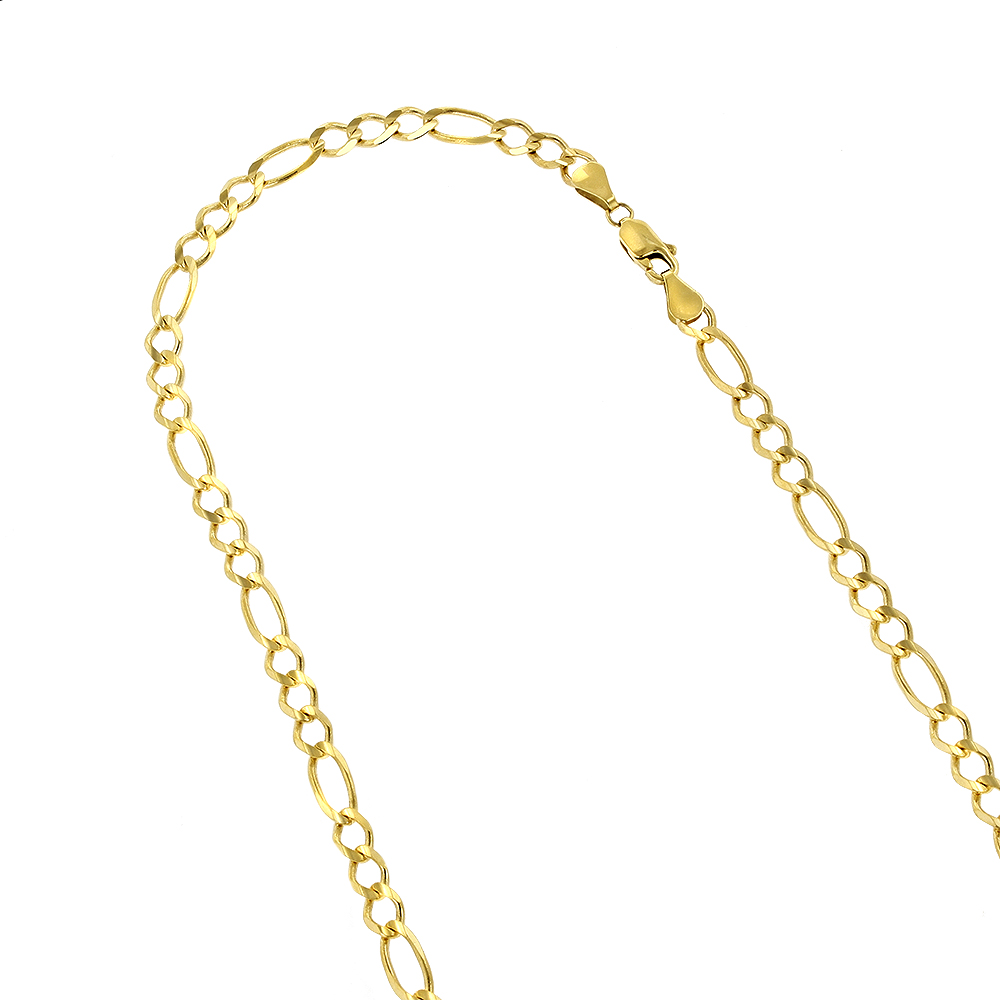 LUXURMAN Solid 14k Gold Figaro Chain For Men & Women 7mm Wide Yellow Image