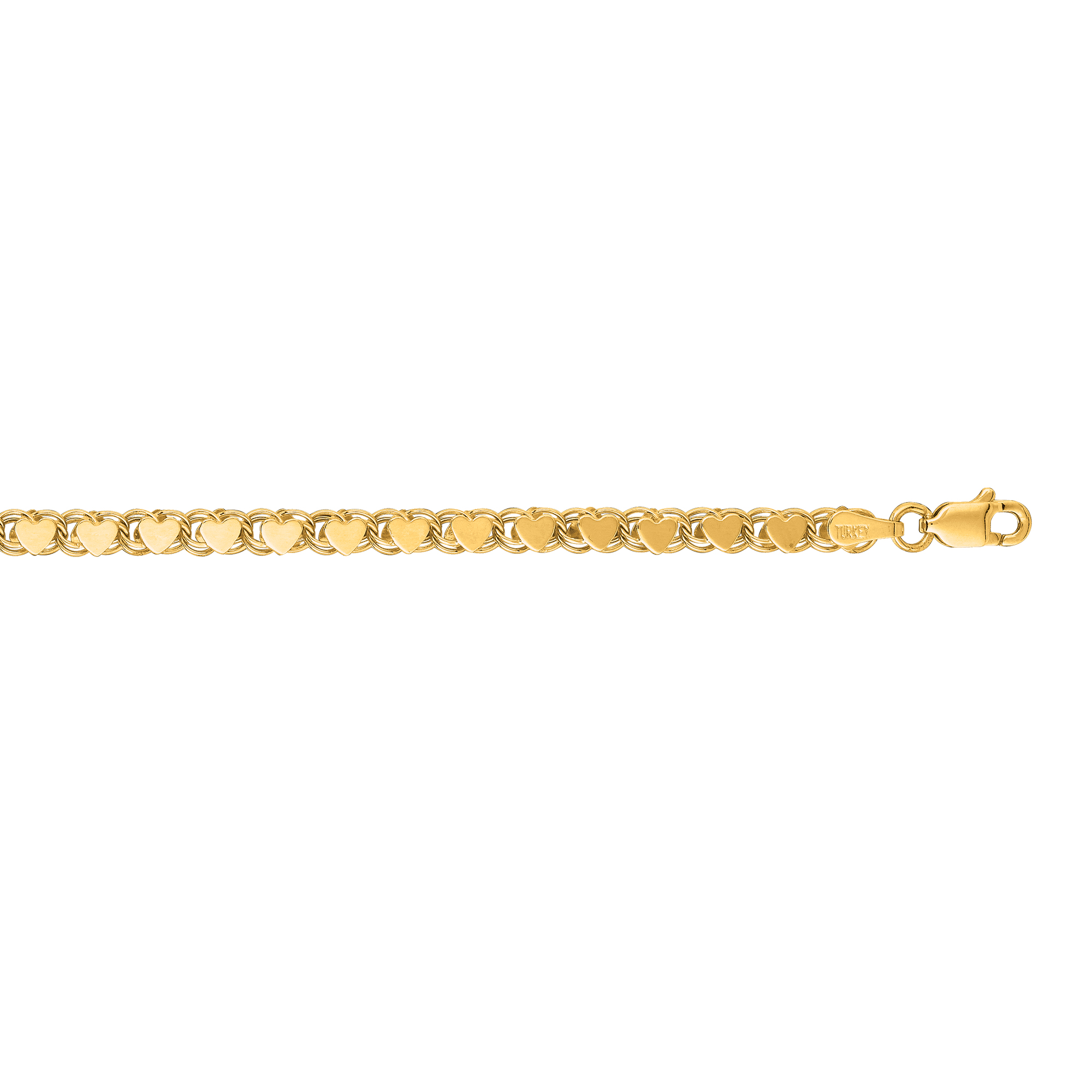 LUXURMAN Solid 14k Gold Heart Chain For Women 3.5mm Wide Yellow Image