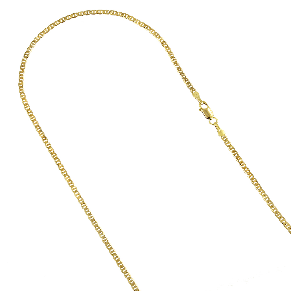 LUXURMAN Solid 14k Gold Mariner Chain For Men & Women 1.7mm Wide Yellow Image