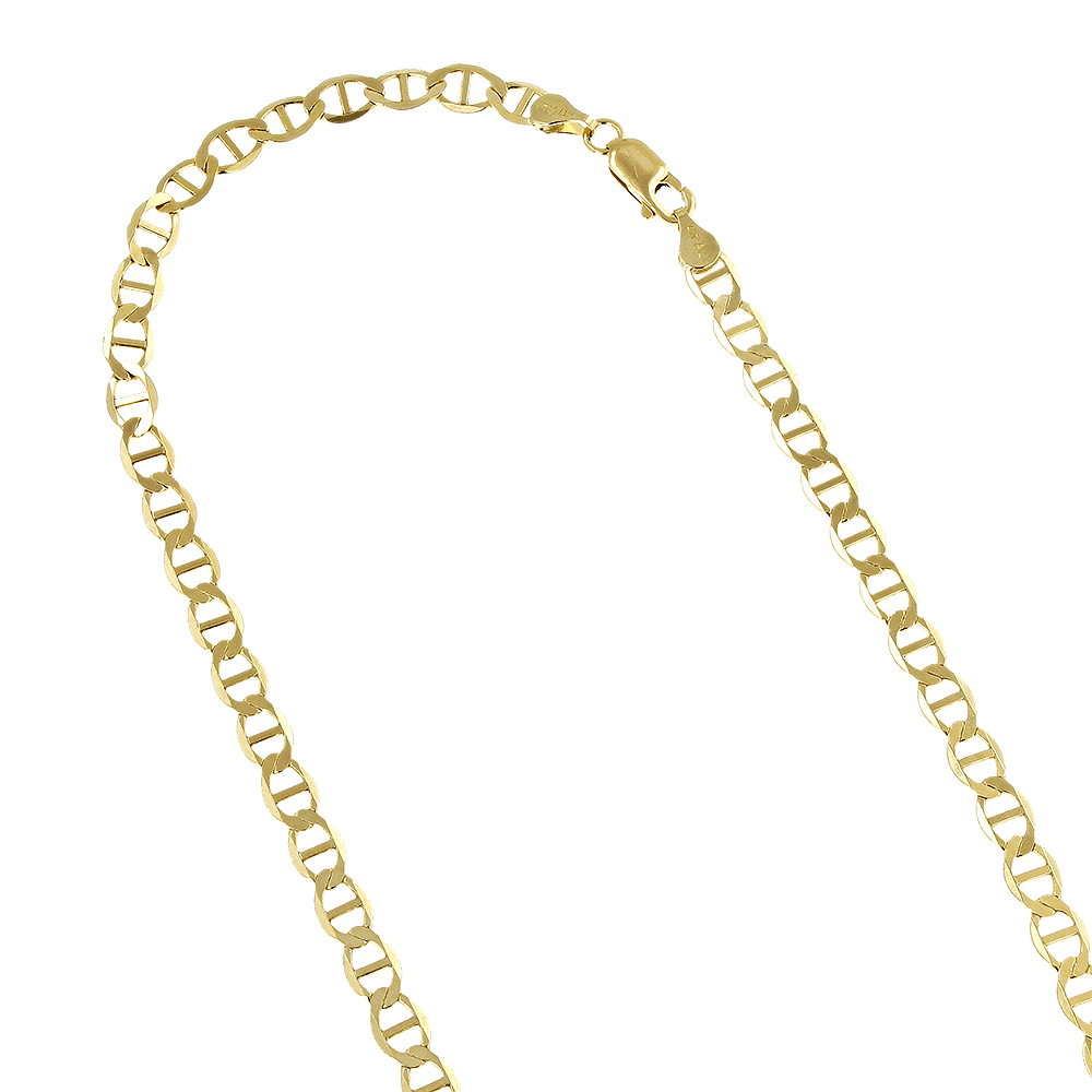 LUXURMAN Solid 14k Gold Mariner Chain For Men & Women 3mm Wide Yellow Image