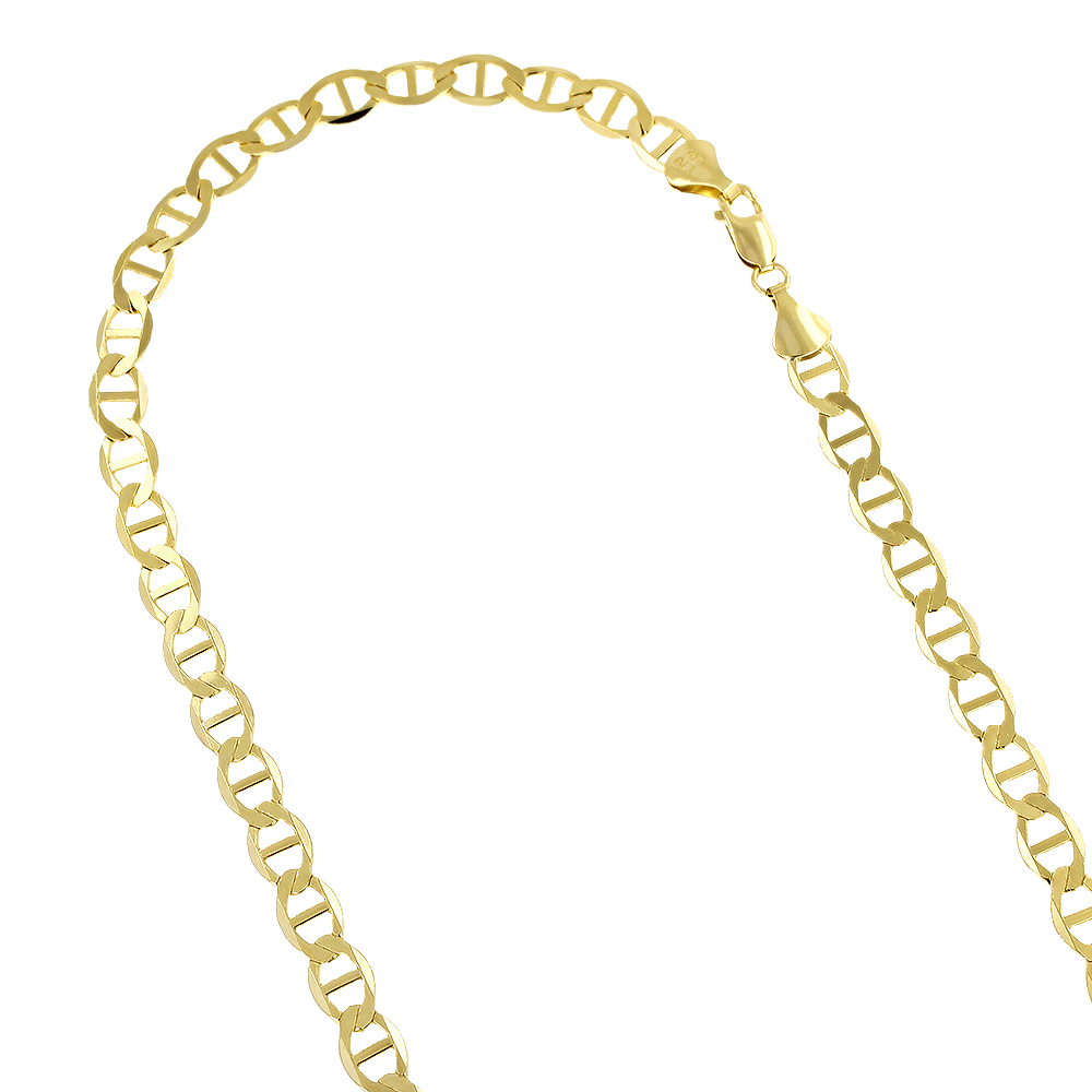 LUXURMAN Solid 14k Gold Mariner Chain For Men & Women 6.5mm Wide Yellow Image