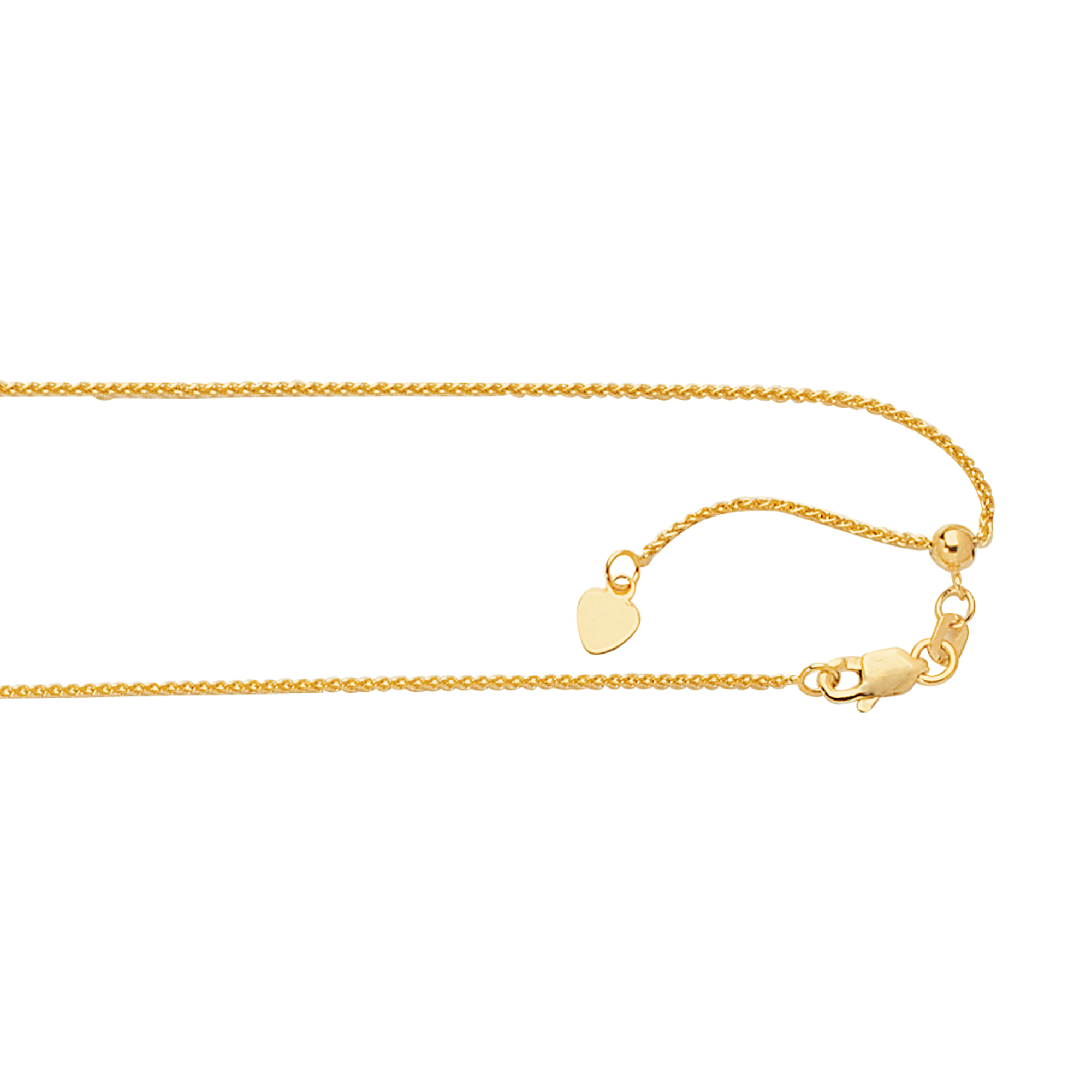 LUXURMAN Solid 14k Gold Round Wheat Chain Adjustable 1mm Yellow Image