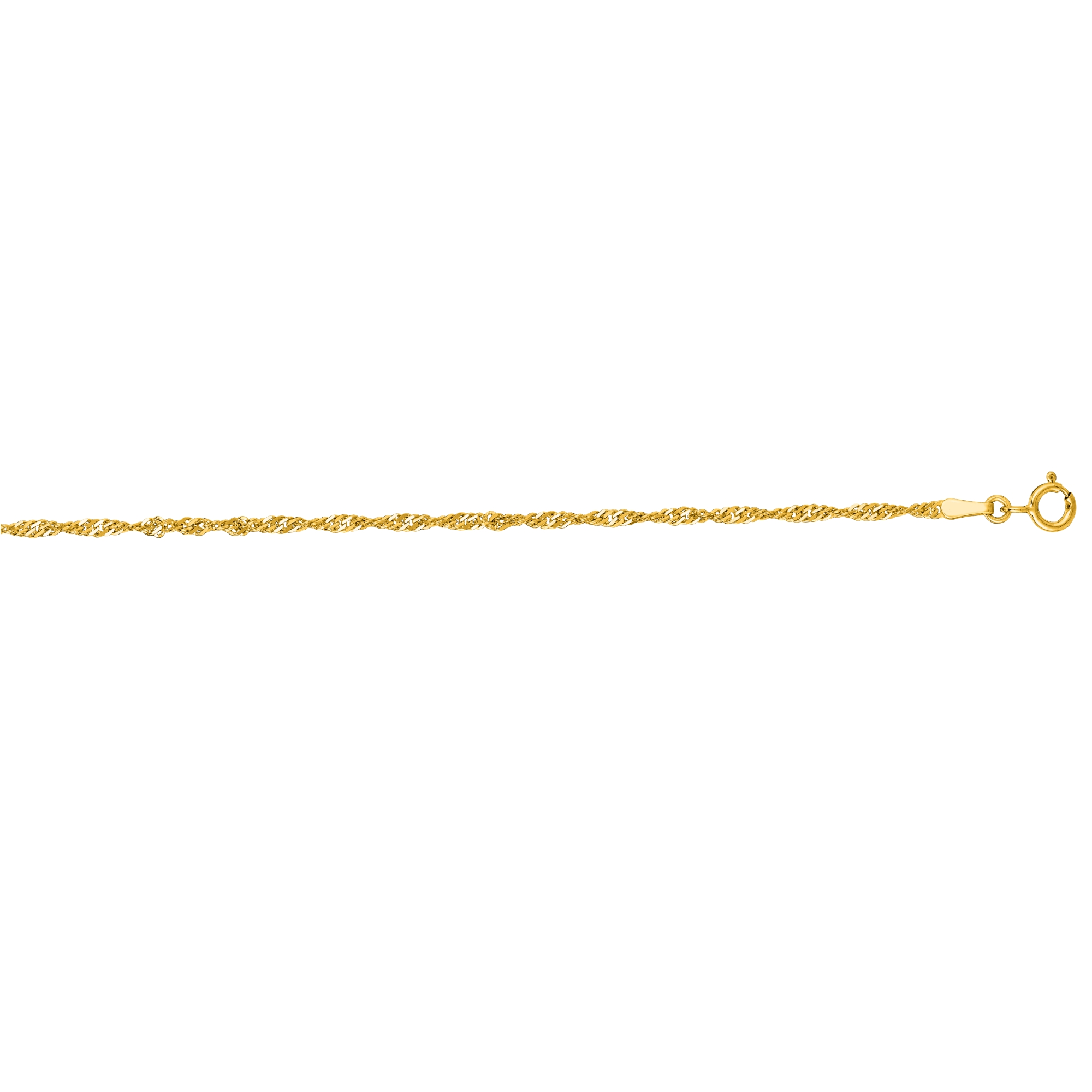 LUXURMAN Solid 14k Gold Singapore Chain For Men & Women 1.7mm Wide Yellow Image